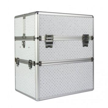 Kozmetický kufrík so ♡ strieborný